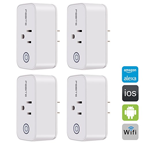 SVPRO Wifi Remote Plug Switch Control Devices Anywhere,Wireless Smart Socket Outlet,Wi-Fi Smart Plug Outlet Mini,Smart Outlet Socket Wifi Plug For Alexa Google Assistant,No Hub Required 4 pack