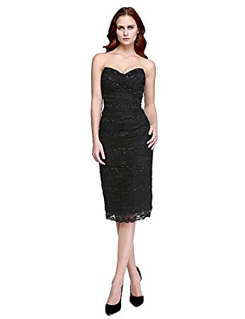 HY&OB Sheath / Column V-Neck Knee Length Tulle Charmeuse Cocktail Party Prom Dress With