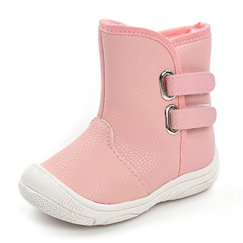 Toddler Boys Girls Rubber Sole Warm Winter Snow Boots, Pink 18-24 Months ()