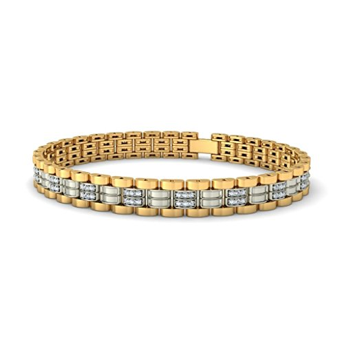 14 K Or jaune, 1,02 CT TW Round-cut-diamond (Ij| SI) Identification-bracelets