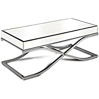 HOMES: Inside + Out Iohomes Luxy Chrome Frame Mirror Panel Coffee Table