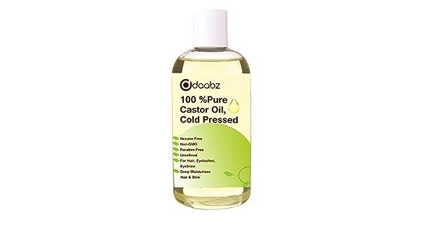 daabz 100% puro aceite de ricino. hexano libre, prensado en frío, non-gmo para cabello, pestañas y cejas crecimiento. Reparación pelo, hidrata la piel y ...