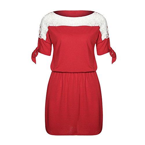 Zolimx Hohle Spitze Nähte Bogen Kleid Frauen Sommer aushöhlen ...