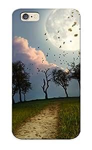 Dreaminghigh Series Skin Case Cover Ikey Case For Iphone 6(cg Digital Art Manip Night Moon Birds Flock Trees Path Sky )