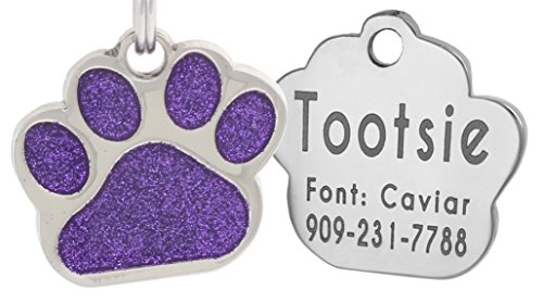 (Laser Engraving Glitter Paw Pet ID Tags Custom Personalized for Dog & Cat Paw Print Tag (Purple))