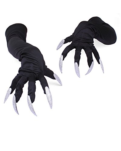 Banshee Ghost Costume (IXIMO Happy Halloween Mittens Cosplay Claw Long Nail Elbow Gloves Halloween Costume Show Mittens Black)
