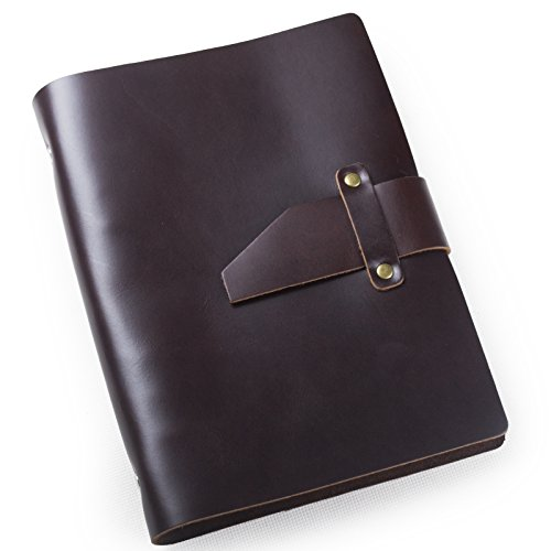 Ancicraft Simple Classic Genuine Leather Journal Refillable with Strap 6 Ring Binder A5 Lined Craft Paper Dark Coffee with Gift Box (Dark Coffee)