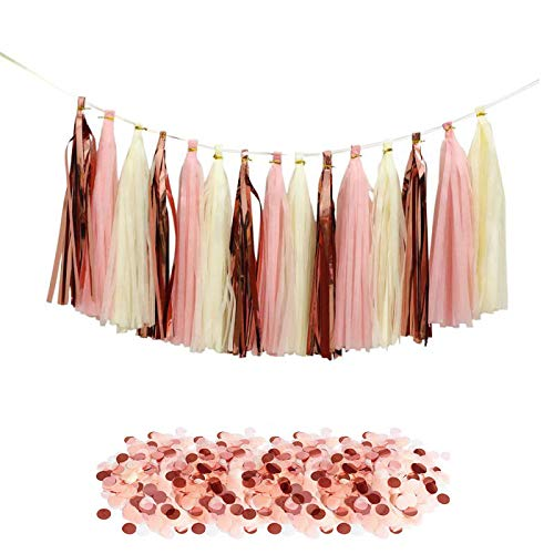 Rose Gold Decorations-Tissue Paper Tassels Party Garland, 15pcs Rose Gold Foil Pink Yellow Tassel 10g Rose Gold Blush Yellow Confetti Gift for Baby Girl Showers Birthday Weddings Bridal Shower Decor ()