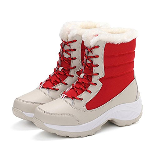 Women's Winter Boots Plush Outdoor Work Shoes Warm Ankle Snow Boots Red LGOaTL25gC