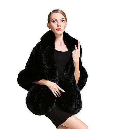 BEAUTELICATE Women's Faux Fur Shawl Wrap Stoles for Bridal Wedding Dresses-S64 Black