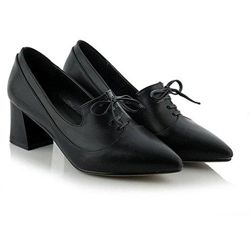 scarpe primavera estate BLACK 38 fondo scarpe trasversale autunno XIE corte punta a morbido cinghia 38 gxwpqnz4