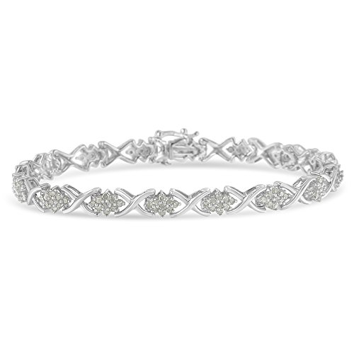 Original Classics Sterling Silver X Link Diamond Cluster Tennis Bracelet (1 1/2 cttw, I-J Color, I3-Promo Clarity)