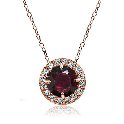 Ice Gems Rose Gold Flashed Sterling Silver Garnet and Cubic Zirconia Accents Round Halo Necklace
