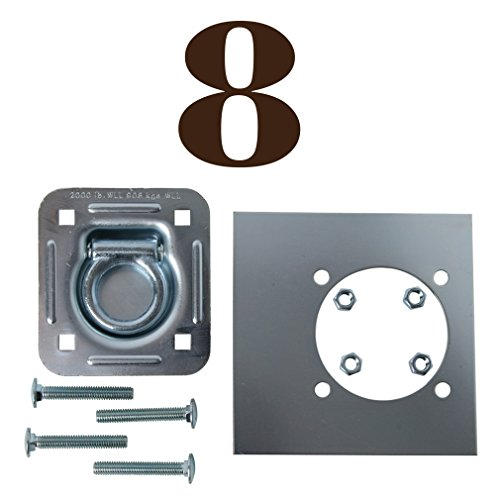 Eight Recessed Tie-Down D Rings, Square Trailer Cargo Tiedown Anchors, Mounting Lock Plate + Installation Bolting Hardware Accessories - Carriage Bolts, Hex Nuts, Flat Washers ()