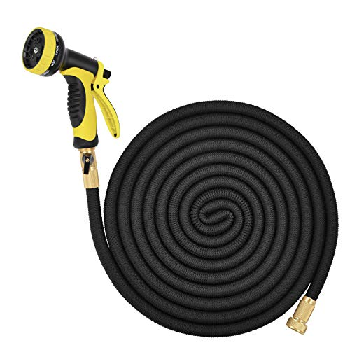 Lightweight Expandable Solid Brass Valve Connector Garden Hose with 10 Pattern Spray Nozzle – 100FT Black