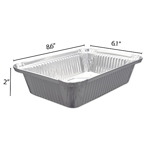 Fig & Leaf (120 Pack) Premium 2-LB Takeout Pans with LIDS l Standard 8.6'' x 6.1'' x 2'' l Top Choice Disposable Aluminum Foil for Catering Party Meal Prep Freezer Drip Pans BBQ Potluck Holidays by Fig & Leaf (Image #5)