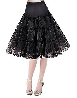 """Modeway Women's 50s Vintage Rockabilly Petticoat,26"""" Length Net Underskirt(FBA)"""