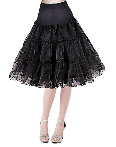 Modeway 50s Vintage Rockabilly Petticoat Midi Skirts (Plus Size Petticoats)