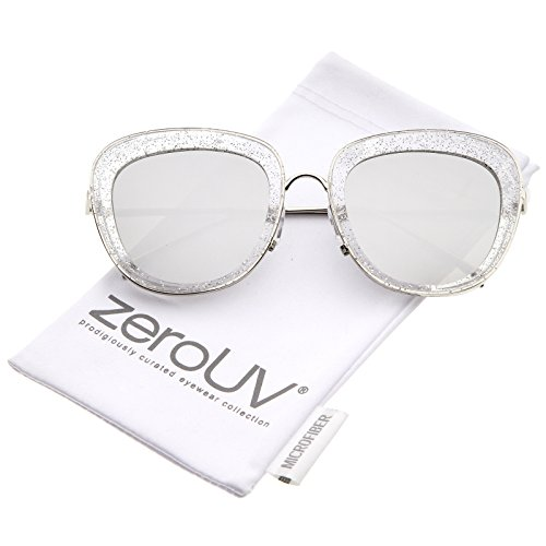 zeroUV - Transparent Glitter Frame Square Colored Mirror Lens Oversize Sunglasses 53mm (Clear-Silver / Silver (Glitter Clear Frames)