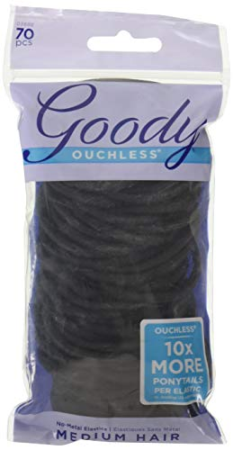 Goody Women's Ouchless 4 mm Pillow Pack Elastics, Black, 70 Count (Pack of 3)
