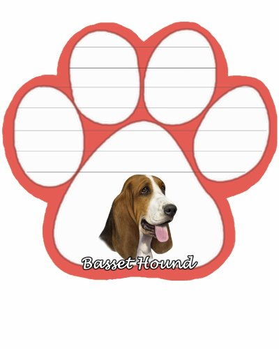 Image of Basset Hound Notepad With Unique Die Cut Paw Shaped Sticky Notes 50 Sheets Measuring 5 by 4.7 Inches Convenient Functional Everyday Item Great Gift For Basset Hound Lovers and Owners