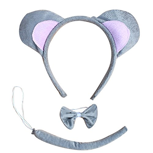 [3pcs Plush Cute Animals Mouse Ears Headband Head Band Bow Tie Tail Set for Halloween Animal Easter Cosplay] (Mouse Ears And Tail Costumes)