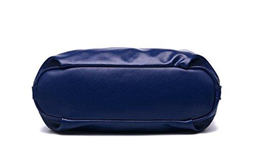 las de la la de con manija de capacidad manera la grande doble de bolso Bolso saco Blue de de bolso la hombro manera del del mujeres simple cuero wWafSq0