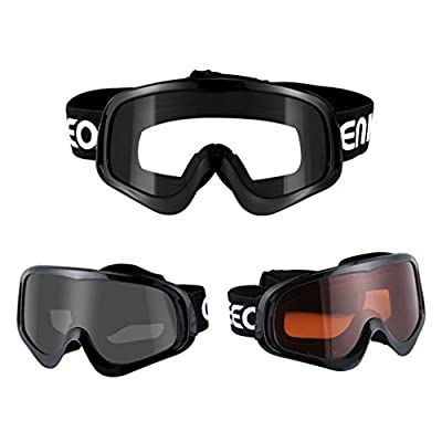 Enkeeo Motorcycle Goggles Anti-Fog and Anti-Scratch, Bendable Frame with Padded Soft Foam, Adjustable Strap for Adults' Cycling, Climbing and Shooting