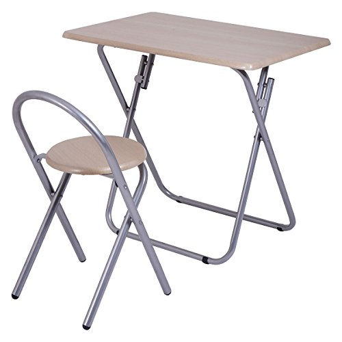 GHP Iron Frame MDF Board PVC Folding Study Desk with 220-Lbs Capacity Chair Set by Globe House Products