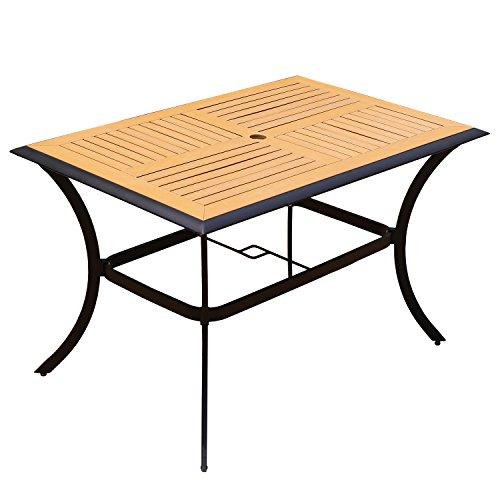 YONGCUN Yongcunsho Outdoor Patio Garden Dining Rectangle Wooden Table 6 seat