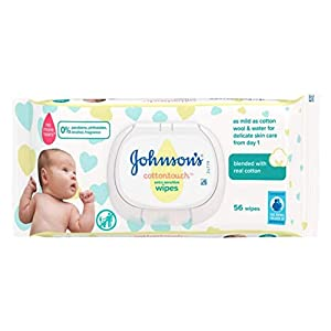 JOHNSON'S Cottontouch Extra Sensitive Baby Wipes – 672 wipes – Blended with Real Cotton (12×56)
