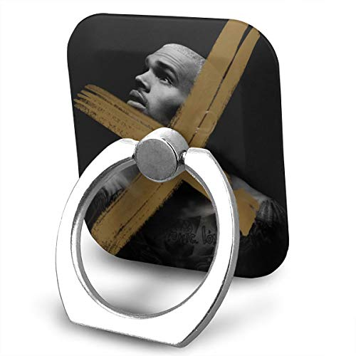 (EdithL Chris Brown X Phone Ring Stand Holder Finger Grip Stand, Car Mount 360 Degree Rotation Universal Phone Ring Holder Kickstand for iPhone/iPad/Samsung)