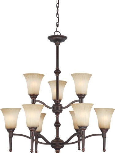 Nuvo Lighting 60/4249 Two Tier-Nine Light Franklin Chandelier with Sienna Glass, Georgetown Bronze