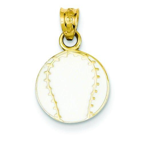 14K Yellow Gold Enameled Baseball Pendant Charm Jewelry