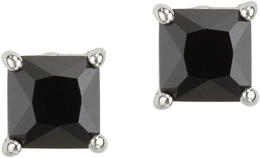 Mens Sterling Silver Stud Earrings Screw Backs Round Black Cubic Zirconia Basket