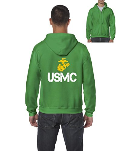Xekia USMC US Marine Corps People Fashion Clothing Best Friend Xmas Mothers Day Gifts Full-Zip Men's Hoodie X-Large Irish Green