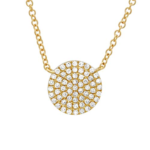 - 14k Yellow Gold Single Round Disk Pendant 0.16ct Diamond Pendant Chains For Women & Teens