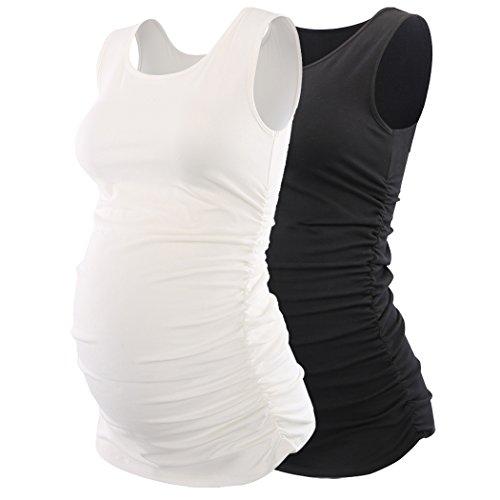 Maternity Nursing Tank top, KUCI Women Basic Vest Side Ruched Scoop Neck Sleeveless Pregnancy Tunic Mother Cami (S, Black+White/2Pack)