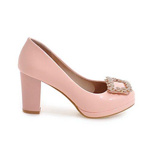 AllhqFashion Damen Rund Zehe Ziehen auf Lackleder Rein Hoher Absatz Pumps Schuhe Pink