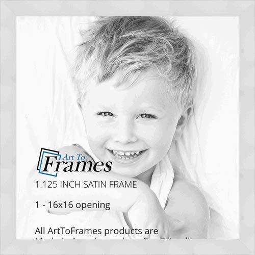 ArtToFrames 16x16 inch Satin White Wood Picture Frame, WOM20021-16x16 (16x16 White Frame)