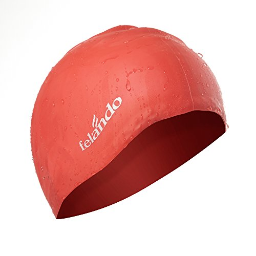 Felando Large Silicone Solid Swim Cap for Women Girls Men and Adult,Long hair Thick Hair Curly Hair Dreadlocks Ear Wrap Swim Cap,UV Blocked &Waterproof Swim Cap (Latex Solid Swim Cap)