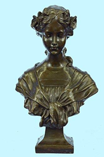 ...Handmade...European Bronze Sculpture Young Woman Bust Hot Cast Marble Base Art Deco (XN-031-EU) Bronze Sculpture Statues Figurine Nude Office & Home Décor Collectibles Sale Deal Gift