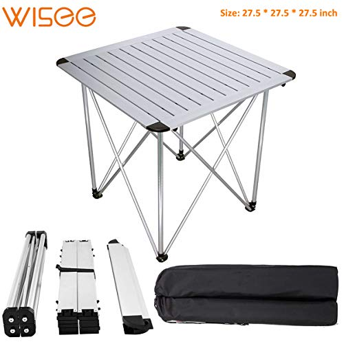 Folding Camping Table Portable with Bag Lightweight Big Size, Aluminum Alloy 28 Inch Outdoor Picnic Table Foldable for Barbecue Camp, Beach, Backyards, Lake, BBQ, Party