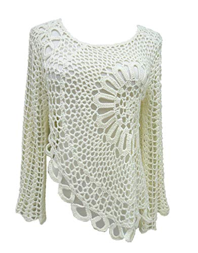 tinacrochetstudio Hi Low Women White Crochet Blouse Long Sleeve (L, Ivory)