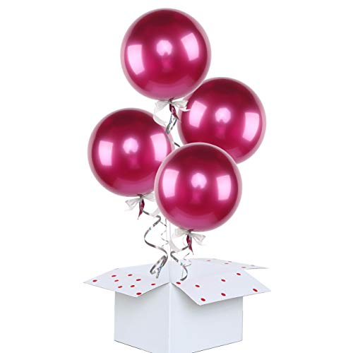 Eanjia 4pcs Chrome Metallic Balloon Wrinkle Free Metal Round Sphere Balloons for Birthday Wedding Baby Shower Party Decor Metal Bubble Balloons Lasting 72 Hours More Repeatable use (Magenta, 18)]()