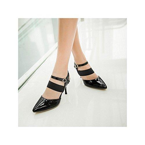OCHENTA Talones Mujer correa de calzado de tacón 8.5cm Aiguille boda atractiva Negro