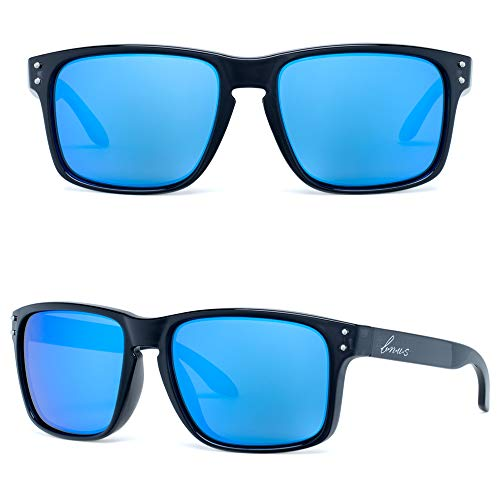 Bnus italy made corning real glass never scratch mirrored coating blue flash polarized Lens classic sunglasses for men womens shades (Black/Blue Flash Polarized 56MM, Never Scratch Mirror Coating)