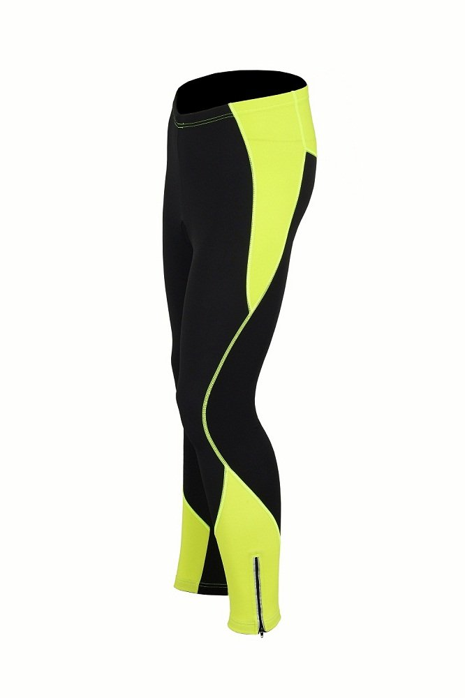 8a2cd38b113 ProAthletica Womens Winter Cool Max Padded Cycling Tights Trousers Running  Thermal Leggings (Black Yellow) (Black Yellow