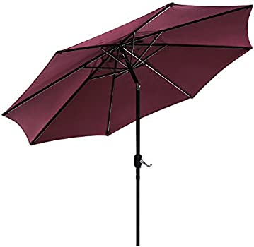 Amazon Com Uhinoos 9ft Patio Umbrella Outdoor Umbrella With Crank And 8 Ribs Polyester Aluminum Alloy Pole Tilt Button Outside Table Umbrella Fade Resistant Water Proof Patio Table Umbrella Wine Garden