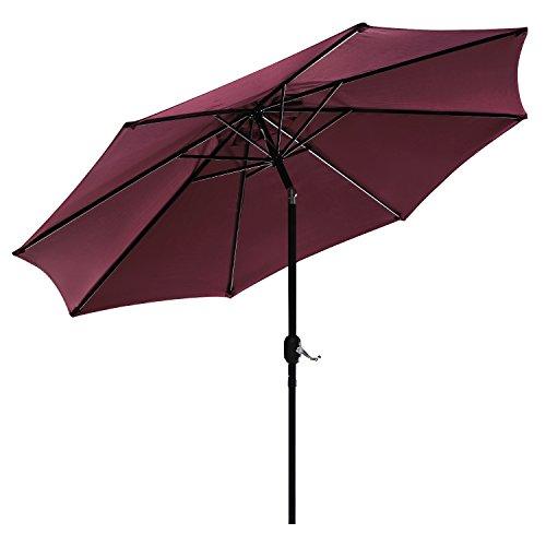 UHINOOS 9 ft Patio Umbrella,Outdoor Umbrella with Crank and 8Ribs,100% Polyester Aluminum Alloy Pole Tilt Button Outside Table Umbrella.Fade Resistant Water Proof Patio Table Umbrella,Wine by UHINOOS